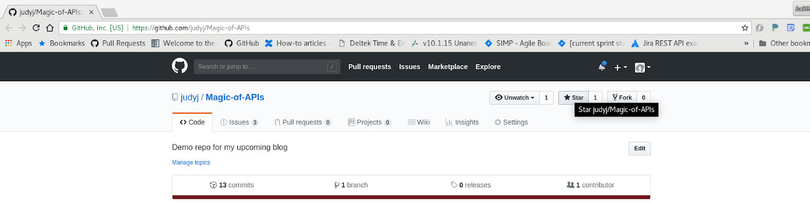 Screenshot of the 'Magic of APIs' GitHub repo